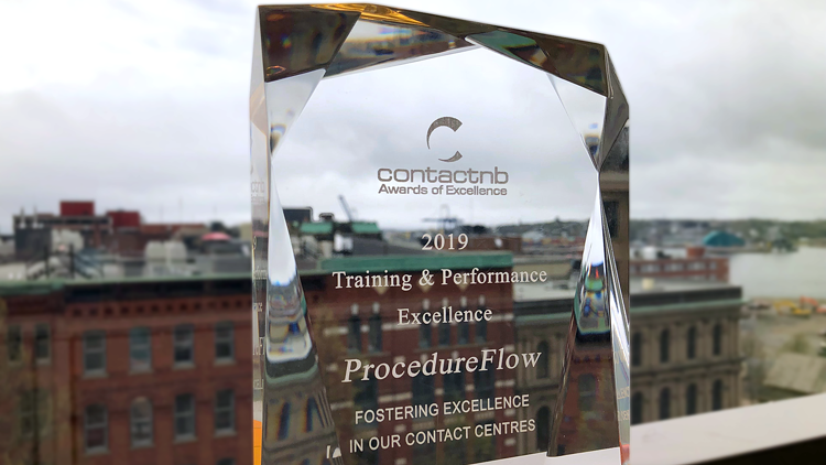 ProcedureFlow wins Training & Performance Excellence Award at ContactNB